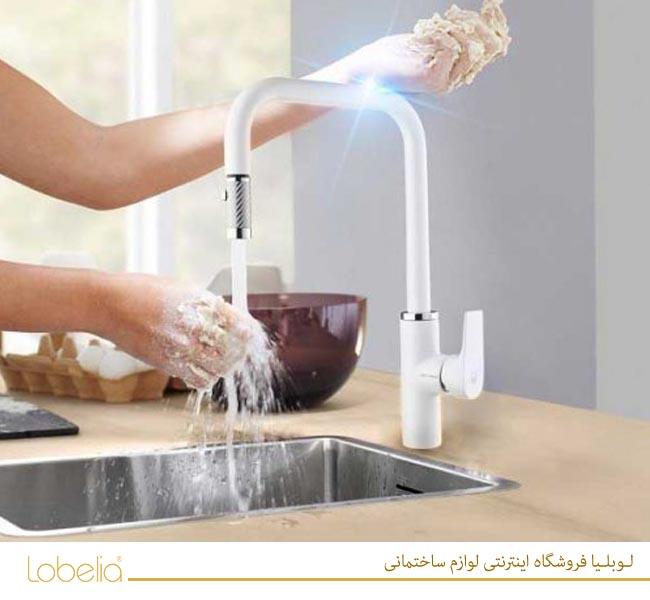شیر ظرفشویی لوبلیا ورونا شلنگدار سفید کی دبلیوسی kwc www.lobelia.co 02122327211
